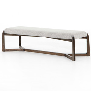 """Roscoe Pebble Grey Upholstered Bed End Bench 63"""""""