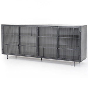 Violet Industrial Distressed Iron Glass Door Sideboard 80""