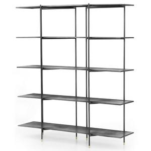 """Vito Industrial Black Iron Open Shelf Bookcase 63"""""""