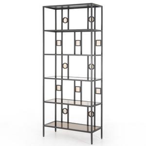 "Nicos Industrial Iron Smoked Glass Shelf Bookcase 34"""
