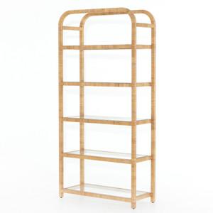 Palms Glass Shelf Honey Rattan Bookcase