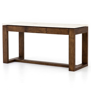 Everton White Marble Top Counter Table with Storage