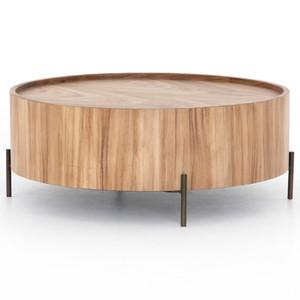 """Lunas Natural Wood Drum Coffee Table 40"""""""