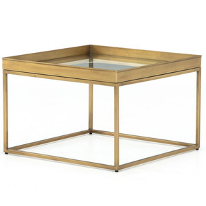 """Kline Antique Brass Square Bunching Coffee Table 24"""""""