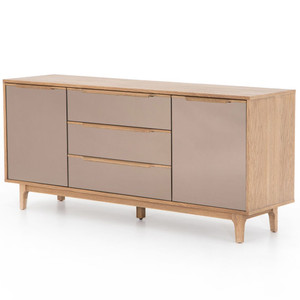 Finch Modern Oak Wood Mirrored Sideboard Cabinet