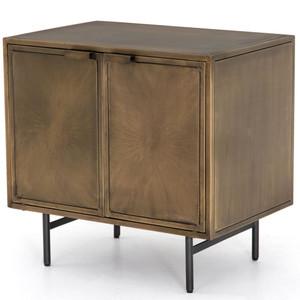 Sunburst Industrial Aged Brass Cabinet Nightstand