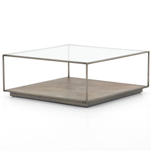 "Sunburst Shadowbox Square Coffee Table 38"""