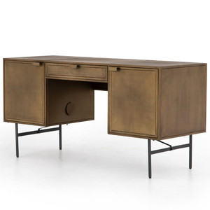 Sunburst Industrial Aged Brass Iron Executive Desk 60""