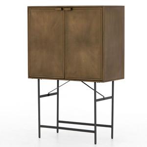 Sunburst Industrial Aged Brass Iron Cabinet