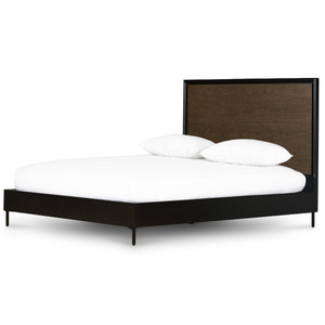 August Modern Black Oak Queen Platform Bed