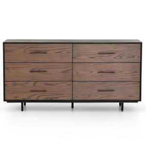 August Modern Black Oak 6 Drawers Dresser