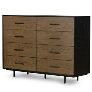August Modern Black Oak 8 Drawers Dresser