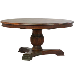 """Hand Carved Salvaged Wood Pedestal Table 63"""""""