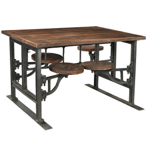 Industrial Architect Work Table Desk With Attached Stools