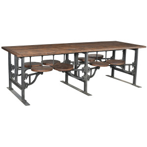 Industrial Architect Work Table Desk With 8 Attached Stools