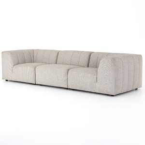 Gwen Channel Tufted Modular 3 PC Outdoor Sectional Sofa