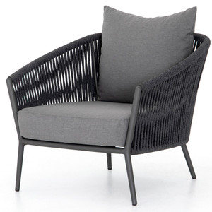 Porto Charcoal Woven Rope Outdoor Lounge Chair