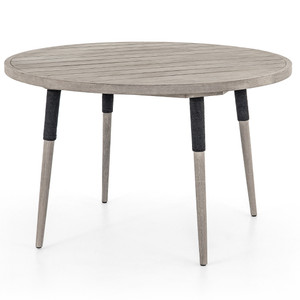 Sana Grey Teak Top Round Outdoor Dining Table 48""