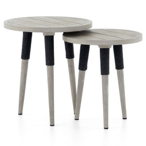 Sana Grey Teak Top Round Outdoor End Tables, Set Of 2