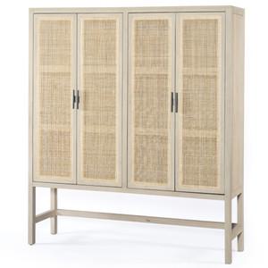 Audrey Woven Cane 4 Door Storage Cabinet