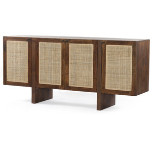 Goldie Toasted Wood Woven Cane 4 Door Sideboard 70""