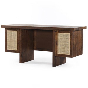 Goldie Woven Cane Executive Writing Desk 64""