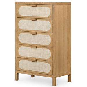Allegra Woven Cane 5 Drawers Oak Tall Dresser