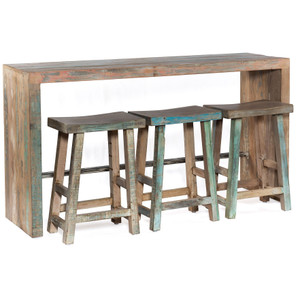Shabby Chic Vintage Reclaimed Teak 4-PC Counter Height Table Set
