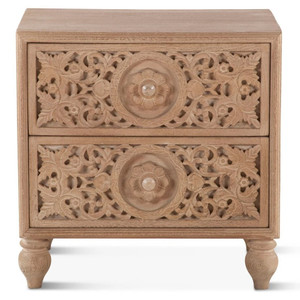 Andalusia Solid Wood Handcarved 2 Drawer Nightstand