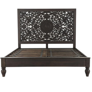 Andalusia Vintage Brown Handcarved King Bed