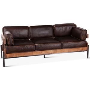 Loft Reclaimed Oak Base Industrial Leather Sofa