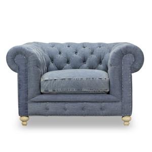 Warner Blue Denim Chesterfield Club Chair