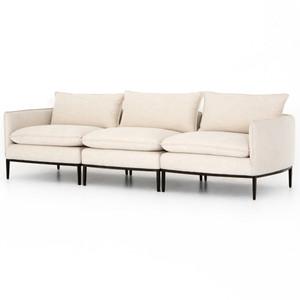 Donovan Modern Ivory Upholstered Modular Sofa