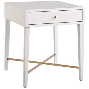Love Joy Bliss 1 Drawer End Table, Alabaster