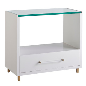 Peony White Lacquer 1 Drawer Nightstand