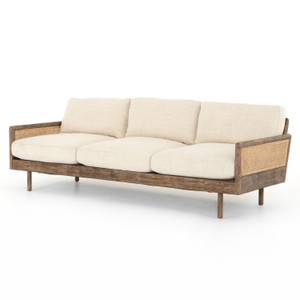 """Zayne Taupe Fabric and Cane Sofa 90"""""""