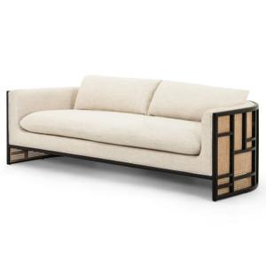 "June Cream Fabric and Cane Sofa Sofa 81"""
