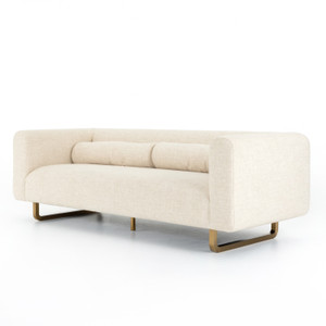 Sled Cream Linen Upholstered Modern Sofa 91""