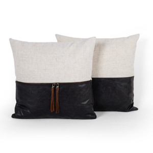 """Leather And Linen Pillow-Snm Blk-Set 2-20"""""""