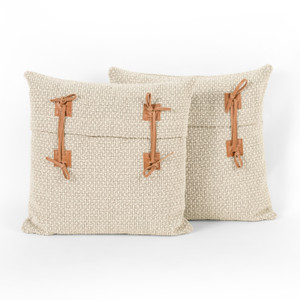 """Leather Tie Pillow-Oatmeal-Set 2-20"""""""