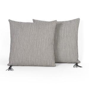 "Textured Dot Pillow-Black-Set Of 2-20"""