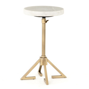 Alana Adjustable Antique Brass Accent Table