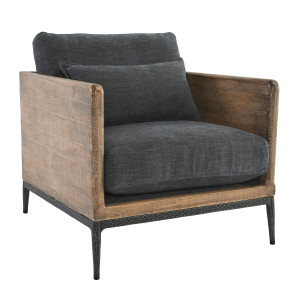 Emmy Reclaimed Wood Accent Chair - Navy