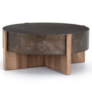 "Bingham Rustic Oak + Iron Round Coffee Table 42"""