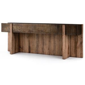 "Bingham Rustic Oak + Iron Console Table 79"""