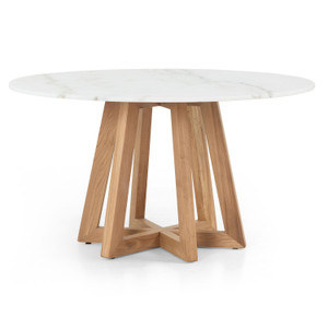 Creston White Marble Round Dining Table 55""