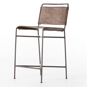 Oxford Distressed Brown Leather Counter Stool
