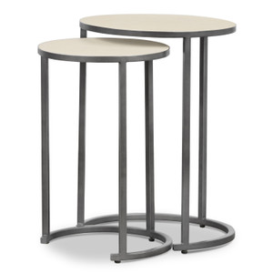 Hollywood Modern Shagreen Nesting Tables - Brushed Gunmetal