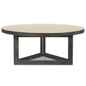 Hollywood Modern Shagreen Round Coffee Table - Brushed Gunmetal