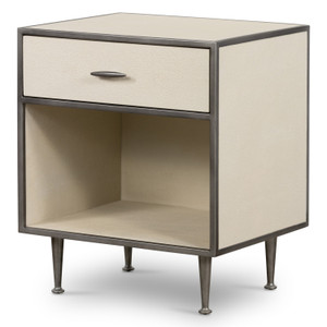 Hollywood Modern Shagreen Bedside Table - Brushed Gunmetal